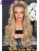 Wholesale Root Light - Wholesale Dark Roots Ombre Blonde Silk Top Full Lace Wigs with Combs 150% Density Brazilian Virgin Hair Blonde Silk Base Lace Front Wigs