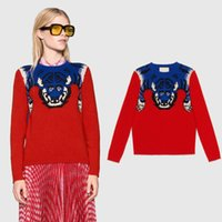 Wholesale Blouse Tigers - Fashion New 2018 Spring Autumn Women Sweaters shirts G Tiger show crochet Long sleeve Blouses cloak Red Sweaters