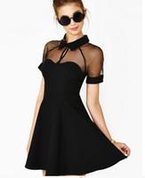 xl siyah kesilmiş elbise toptan satış-2017 Yaz Seksi Cut out Sheer Mesh Kısa Kollu Patenci Mini Elbise Kadın Kız Için Siyah Artı Boyutu S M L XL ücretsiz kargo