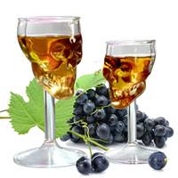 knochengläser großhandel-Neue Stile 75 ml Schädel Becher Weingläser Kreative Rotwein Wodka Bar Nachtwein Glas Transparent Knochen Krieger Tumbler