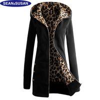 Wholesale Leopard Fur Button Jacket - Wholesale- Sean&Susan Popular Leopard Lined Slim Long Fleece Basic Jacket Women Faux Fur Coats Winter Velvet Hooded Veste femme
