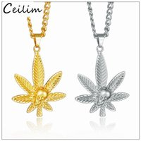 Wholesale Wholesale Maple Leaf Necklaces - 2017 New Fashion Jewelry Punk Leaf Skull Gold Silver Maple Leaf Necklace Pendants Hip Hop Jewelry for Men Women Street Dance Accessories