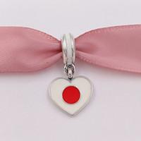 Wholesale Jewelry Silver Japan - 925 Silver Beads Japan Heart Flag Pendant Charm Fits European Pandora Style Bracelets Necklace for jewelry making 791553ENMX