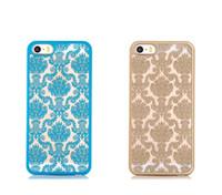 sac iphone fleur achat en gros de-Cas de téléphone portable de matériel de luxe de soulagement de dentelle de fleur de PC pour l'iphone 6