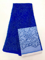 Wholesale Mesh Fabrics For Sewing - French Lace Fabrics Tulle High Class Mesh African Laces Fabric Organza With Beads Embroidery Royalblue For Sewing Women Dress