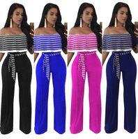 Wholesale Wide Leg Pants Jumpsuits - Women's Jumpsuits Lady Striped Print Rompers Female Girls Ruffle Wide Leg Long Pants 2017 Summer Fashion Women Trousers Clothing W49