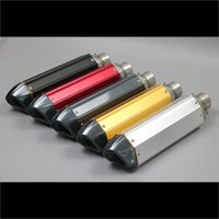 Wholesale Exhaust Tips Silencers - New 410 mm Universal 38-51 mm Motorcycle ATV Modified Exhaust Muffler Pipes With Removable DB Killer Silencer Tail Small Hexagon Vent Tips