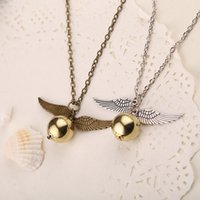 Wholesale Harry Wings Necklace - Popular Harry Potter Necklace Vintage Style Angel Wing Charm Golden Snitch Pendent Necklace For Men Necklace Tainless Chain