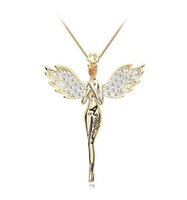 Wholesale Nickle Free Gold Chains - 18K Gold Plated Swarovski Crystal Zircon Angel Necklace for Women Girls Pendent Necklace Nickle Free Wedding Jewelry Wholesale Accessories