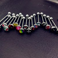 Wholesale 100pcs mix Logo style Tongue Piercing Barbell Bars Piercing Tongue Rings Stainless Steel Punk Fashion Body Jewelry