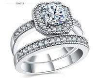 whosale klingelt großhandel-Eleganter Ring für Frauen Engagement Hochzeit weibliche geformte Liebe versilbert Ringe Schmuck Luxus Design whosale