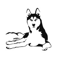 Wholesale Husky Car - 27.9cm*25.6cm Fashion Car Stickers Car Styling Husky Animal Decals