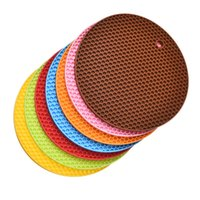 Wholesale Thick Silicone Mat - Wholesale- New 1 PCS Thick Round Silicon Pad Table Mat Durable Non-Slip Mat Coaster Cushion Placemat Pot Holder Heat Resistant Can Hung Up