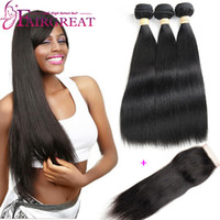 Wholesale Double Malaysian Human Hair Weave - Brazilian Straight Human Hair Bundles With Closure Brazilian Human Hair With Lace Closure 100% Unprocessed Straight Hair Weaves With Closure