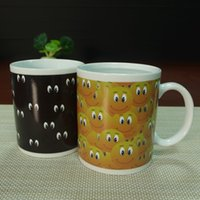 Wholesale Eye Mug - Creative Couples Color Change Cup Magic Lots Of Eyes Mug Ceramic Coffee Heat Temperature Changing Mugs Classic Ideas High Quality 8yr