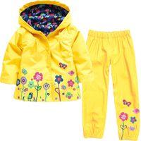 Wholesale Girls Solid Yellow Hoodie - 7 color autumn spring children suit (hoodie+pants) hoodies coat kids jacket girl clothing suit children raincoat girls clothing set