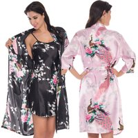 Wholesale Kimono Satin Set - Wholesale- 2 Piece Set Women Silk Peacock Kimono Robes Sexy Lingerie Women Wedding Party Bridesmaid Robe Satin Nightgown Bathrobe Pijama