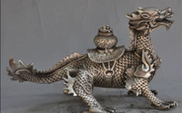 Wholesale Treasure Bowl - decoration bronze factory outlets Tibet Silver china silver fengshui dragon head Kirin beast wealth lucky Treasure bowl statue