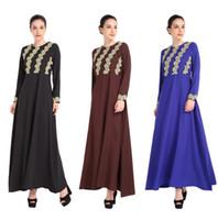 Wholesale Jilbab Islamic Clothes - Malaysia Lady Abaya Clothes Turkey Muslim Fashion Women Embroidery Dress Islamic Jilbab And Abayas Dresses Turkish Robe Musulmane Dubai kaft