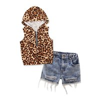 Wholesale Leopard Vest For Baby Girls - Wholesale 2017 Kids Girls Leopard Clothes Baby 2 Pieces Clothing Toddler Summer Sets Children Hooded Vest Denim shorts Suit For 2-7T