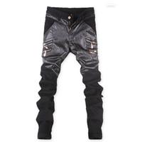 Wholesale Leather Pants 36 Men - Wholesale-Korean New Punk rock leather pants men Zippers Black Skinny slim Plus size 32 33 34 36 Cool trousers