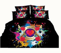 Wholesale Black Flower Comforter - 3D Printed Black Gun Bedding Sets Twin Full Queen King Size Fabric Cotton Duvet Covers Pillowcases Comforter Love Rose Flower 600TC 3 4pcs