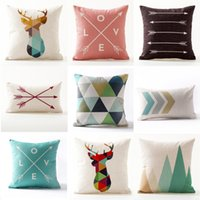 thin linen black bear mountain - Geometric Deer Bear Cushion Cover Arrows Mountain Pillow Cover Thin Linen Pillow Cases X50cm X45cm Bedroom Sofa Decoration
