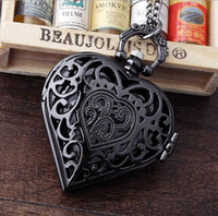 Wholesale Heart Shaped Watch Necklace - Vintage Gun Black Bronze Hollow Quartz Heart-shaped Pocket Watch Necklace Pendant With Long Chain For Men Women Steampunk Gift