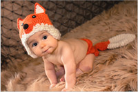Wholesale Hand Made Hat Baby - Fox Design Newborn Costume Photography Props Hand Made Crochet Baby Photo Shoot Clothes for 0-6 Months 1 Set