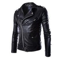 Wholesale Leather Jacket Men Wholesale - Wholesale- NEW Brand Fashion Men Black PU Zipper Suede Faux Leather Coat Punk Long Sleeve Motorcycle Jackets Hip-hop biker swag Jacket