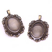 Wholesale Ring Base Flower - Sweet Bell 8set 18*25mmdia Antique Bronze Flowers Style Cameo Cabochon Base Setting Charms Pendant+Clear Glass Cabochon AT7802-1