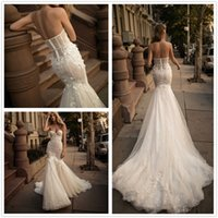 Wholesale Sweetheart Strapless Sparkling Wedding Dress - 2017 New Sexy Strapless Lace Mermaid Wedding Dresses Sparkling Sequins Applique Court Train Bridal Wedding Gowns