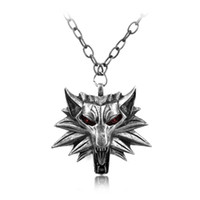 Wholesale-Fashion Hot Sale Wizard Witcher 3 Medalhão Pingente Colar Wolf Head Colar U Pick Color Halloween Colar