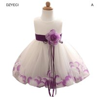 Wholesale Girls Frocks Dresses - Infant Baby Girl Floral Dresses Carnival Costumes For Kid Bow Lace TUTU Wedding Dress Newborn Kid Clothes Children Frock Deguisement Elza