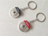 Wholesale Brake Key Chain - Fashion Auto Disc Brake Keychain Car Accessories Parts Key Chain Ring Red Black Keyring Key Fob In Stock Cheap Wholesale
