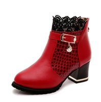 Wholesale Kitten Heel Red Boots - Womens Boots Autumn Winter 2016 Fashion Lace Hollow Out Ladies Shoes Woman Leather Sexy Ankle Boots For Women Botas Mujer NMM7