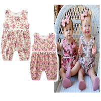 Wholesale Buying Spring Clothes - 2017 new Hot summer to buy new floral baby suits clothes jeans baby clothes home service