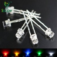 Wholesale Led 3mm Flat Top - Wholesale- IEKOV LED 3MM Flat top Leds diode 5 Colors 100 pcs red blue green yellow Wide Angle Light Bulb Leds Lamp 3MM Emitting Diodes
