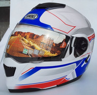 Wholesale White Motorcycle Helmet Full Face - New For SHOEI Flip Up Motorcycle Full Face Helmet Double Lens Motocicleta Casco Capacetes DOT Approved