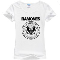 Wholesale Silk T Shirts For Women - Wholesale- New 2016 women classic punk ramones summer sping milk silk o-neck short-sleeve T-shirt for women