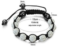 Wholesale Perfumes Low Cost - Foreign trade hot low-cost 10mm 9 drill soft pottery drill ball weaving shamballa perfume bracelet wholesale