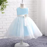 Wholesale Blue Flower Girl Tutu Dresses - Light Sky Blue Flower Girl Dresses For Weddings Princess Bow Sash Handmade Flower Kids Birthday Dress Cute Tutu Gowns