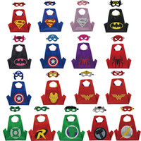 Wholesale Star Masks - Double side L70*70cm kids Superhero Capes and masks - Batman Spiderman Flash Supergirl Batgirl Robin for kids capes with mask