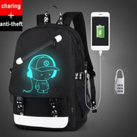 Wholesale External Laptop Chargers - Senkey style Men Backpack Fashion with External USB Charging charger function Laptop Mochila Cartoon Anime Luminous School Noctilucent Bags