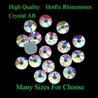 Wholesale Diamonds Hotfix - Wholesale- Crystal AB Hotfix Rhinestones SS4-SS40 With Glue Backing Iron On Strass Diamonds DIY Crafts Clothes Shoes Dresses Supplies