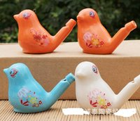 Wholesale Glazed Ceramic Bird whistle Cardinal Vintage Style Water Warbler / instrumentos musicais Toy 100 pcs / lot drop shipping