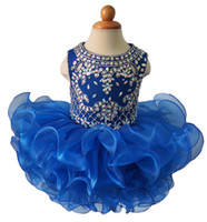 Wholesale Diamond Ball Dresses - Royal Blue Diamond Glitz Girls Natioanl Pageant Cupcake Dresses Infant Tutu Gowns Toddler Baby Girls Ruffled Mini Pageant Dress