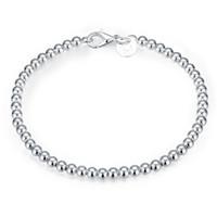 Wholesale 925 Buddha Wholesale - 4MM Buddha Beads Bracelet Trendy Classic 925 Sterling Silver Plating Bracelet for Men Women