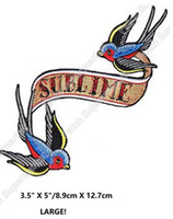 "Wholesale Bird Pair - 5"" SUBLIME swallow birds pair Iron Sew On Clothing Patches Music Band Rock Punk Embroidered badge Halloween Cosplay Costume diy"