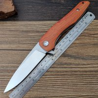 Wholesale bored lock - Y-START F18HL Folding Knife Tactical Outdoor Survival Camping Bushcraft Pocket Knife Liner Lock 8Cr13Mov Blade WOOD Handle Flipping Bearing